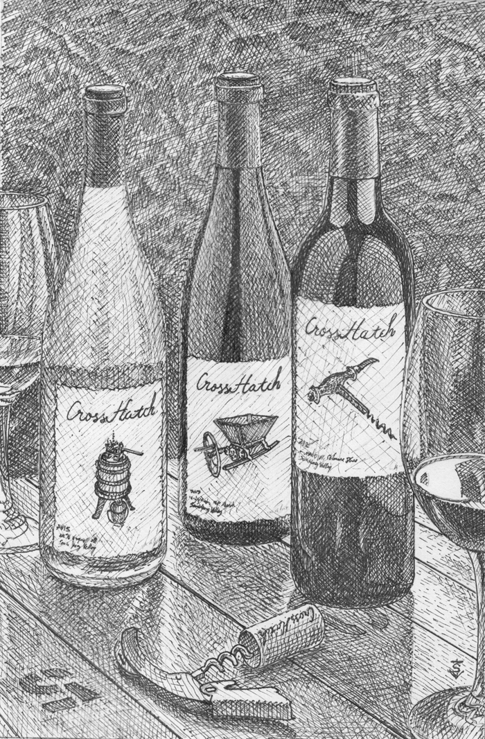 3 CrossHatch wine bottles sketched in the crosshatch method