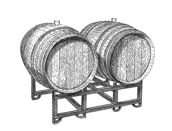 Two wine barrels on a stand